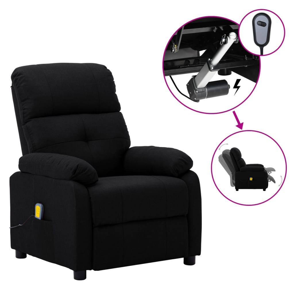 vidaXL Električni masažni naslonjač od tkanine crni