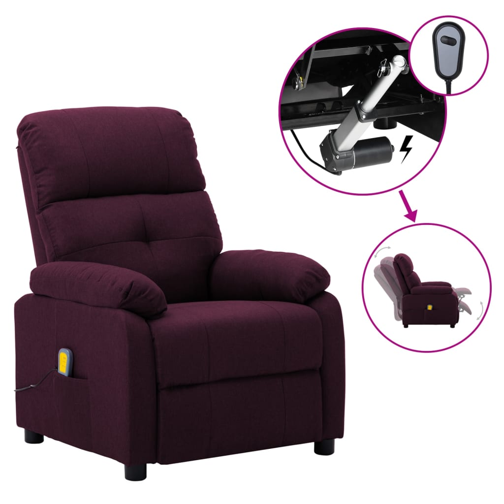 vidaXL Električni masažni naslonjač od tkanine ljubičasti