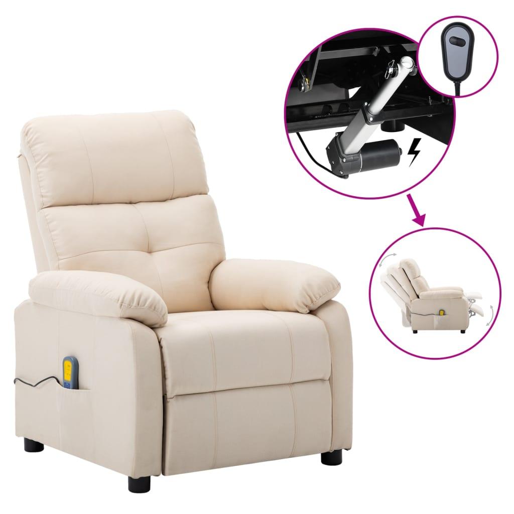 vidaXL Električni masažni naslonjač od tkanine krem