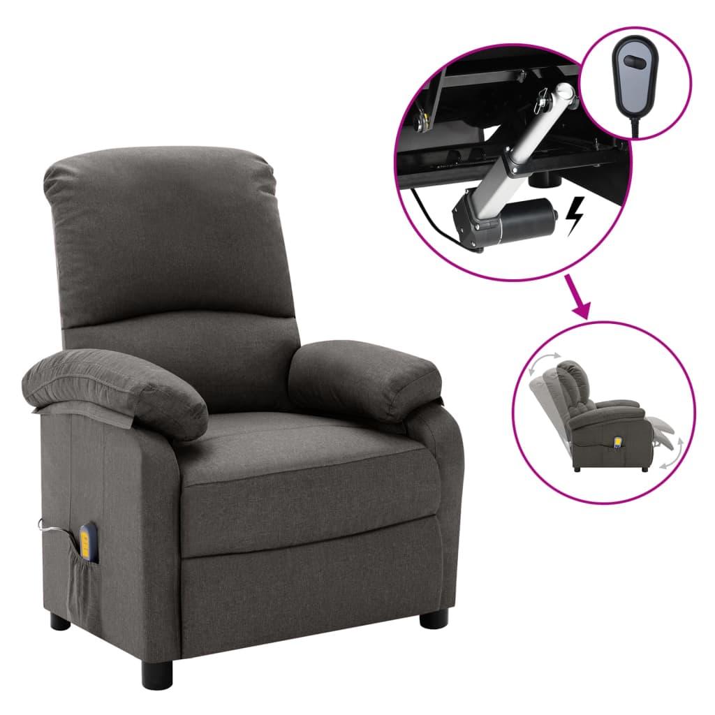 vidaXL Električni masažni naslonjač od tkanine tamnosivi
