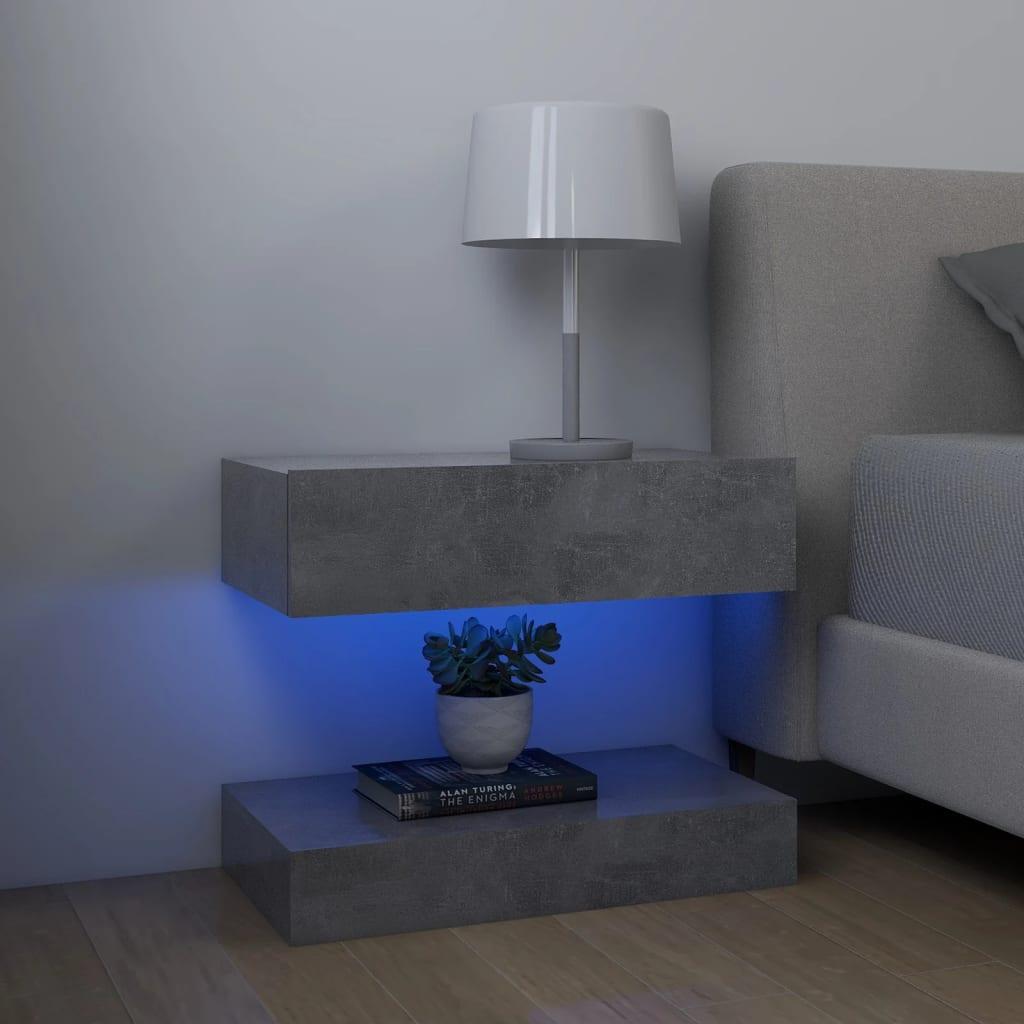 vidaXL sengebord 60x35 cm spånplade betongrå