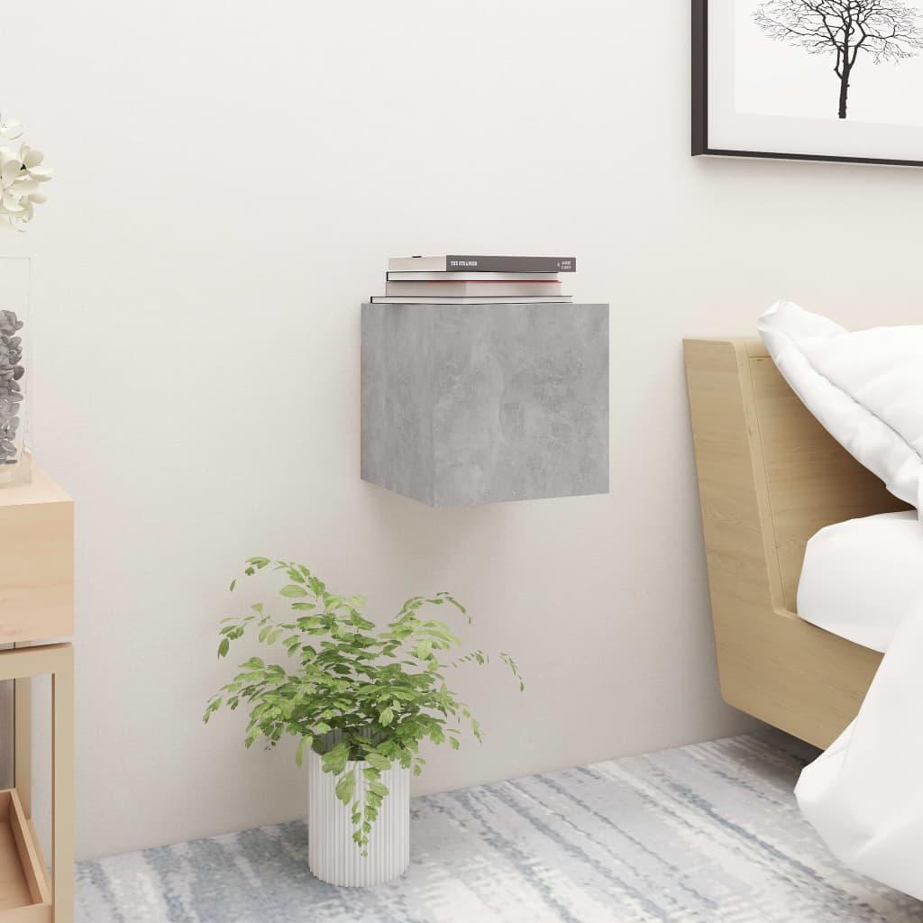 Noční stolek betonově šedý 30,5 x 30 x 30 cm dřevotříska
