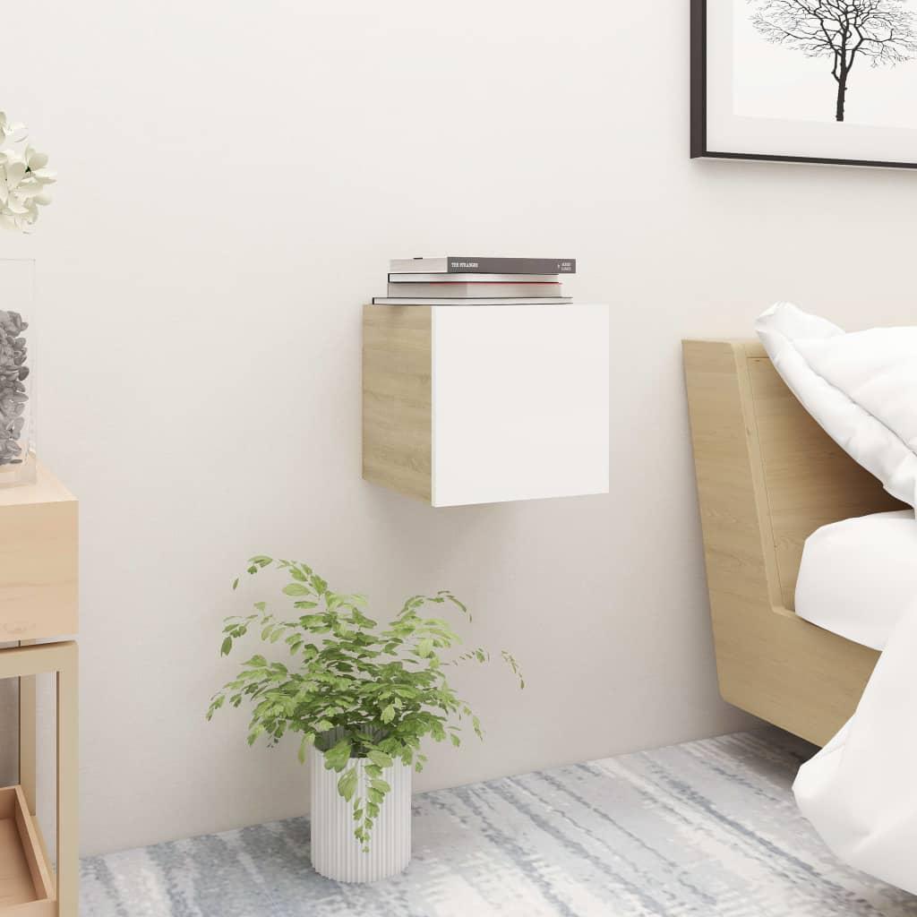 Noční stolek bílý a dub sonoma 30,5 x 30 x 30 cm dřevotříska