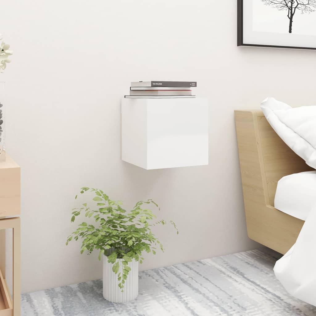 Noční stolek bílý s vysokým leskem 30,5x30x30 cm dřevotříska