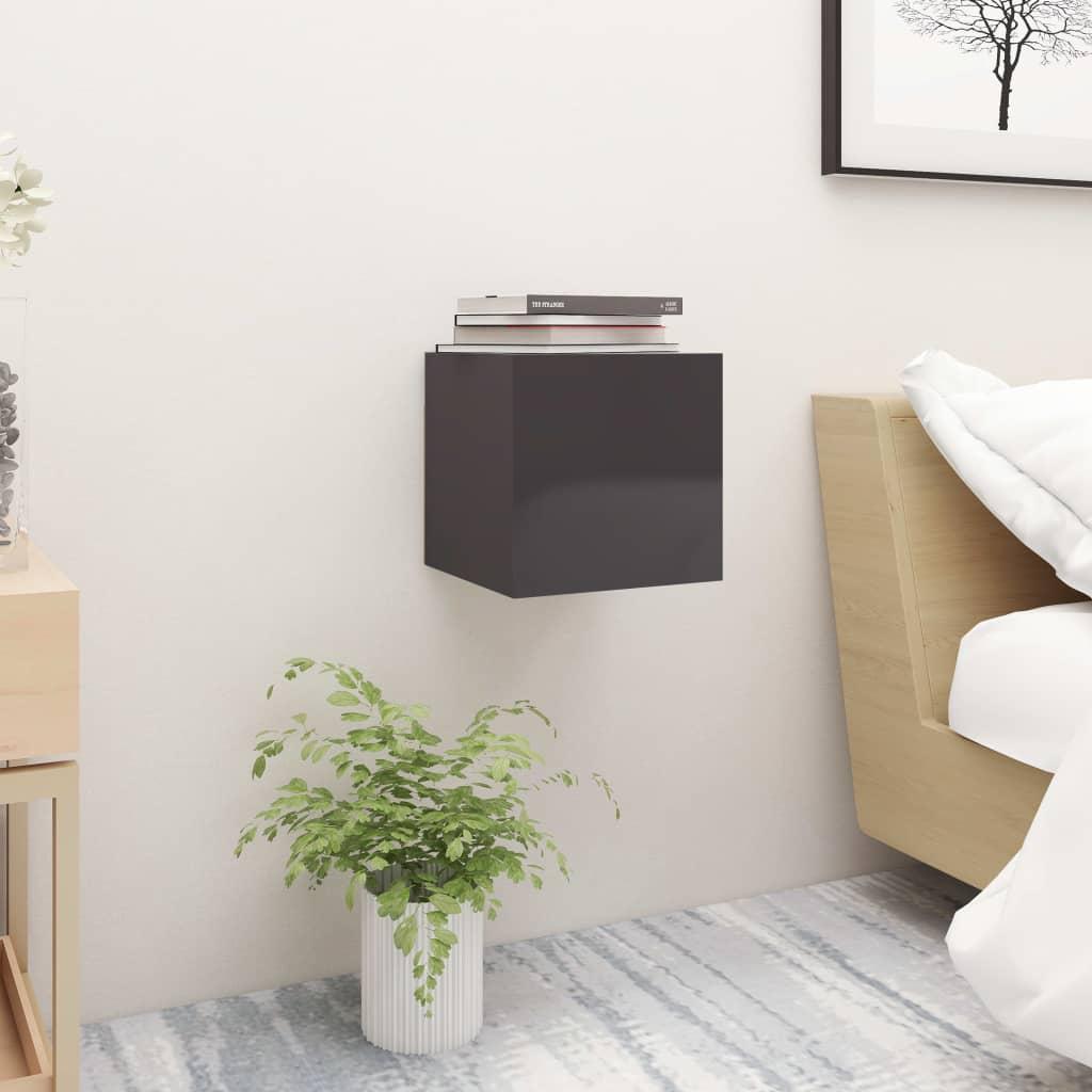 Noční stolek šedý s vysokým leskem 30,5 x 30 x 30 cm dřevotříska