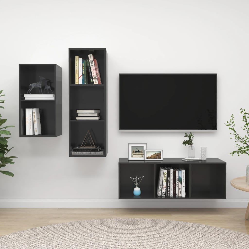 3-delige Tv-meubelset spaanplaat hoogglans grijs