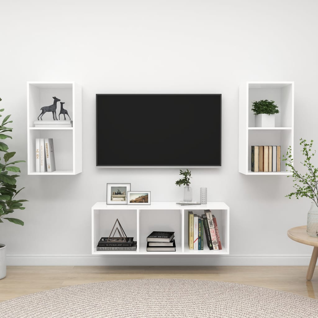 vidaXL 3-tlg. TV-Schrank-Set Weiß Spanplatte