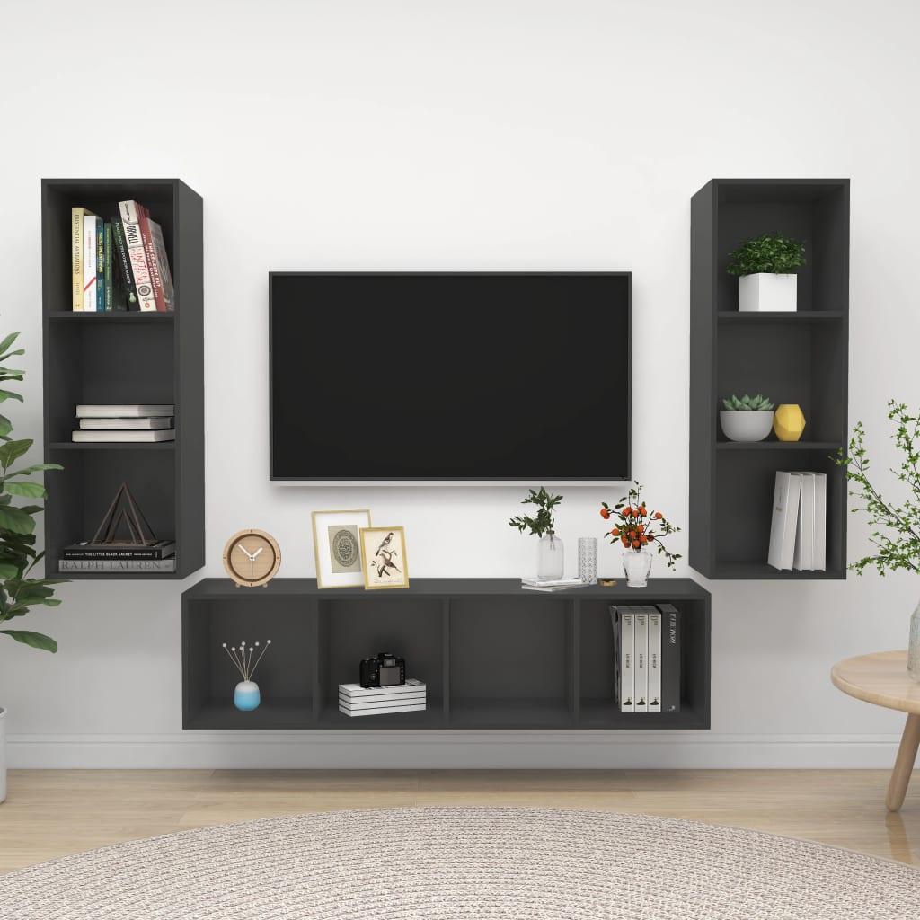 3-delige Tv-meubelset spaanplaat grijs
