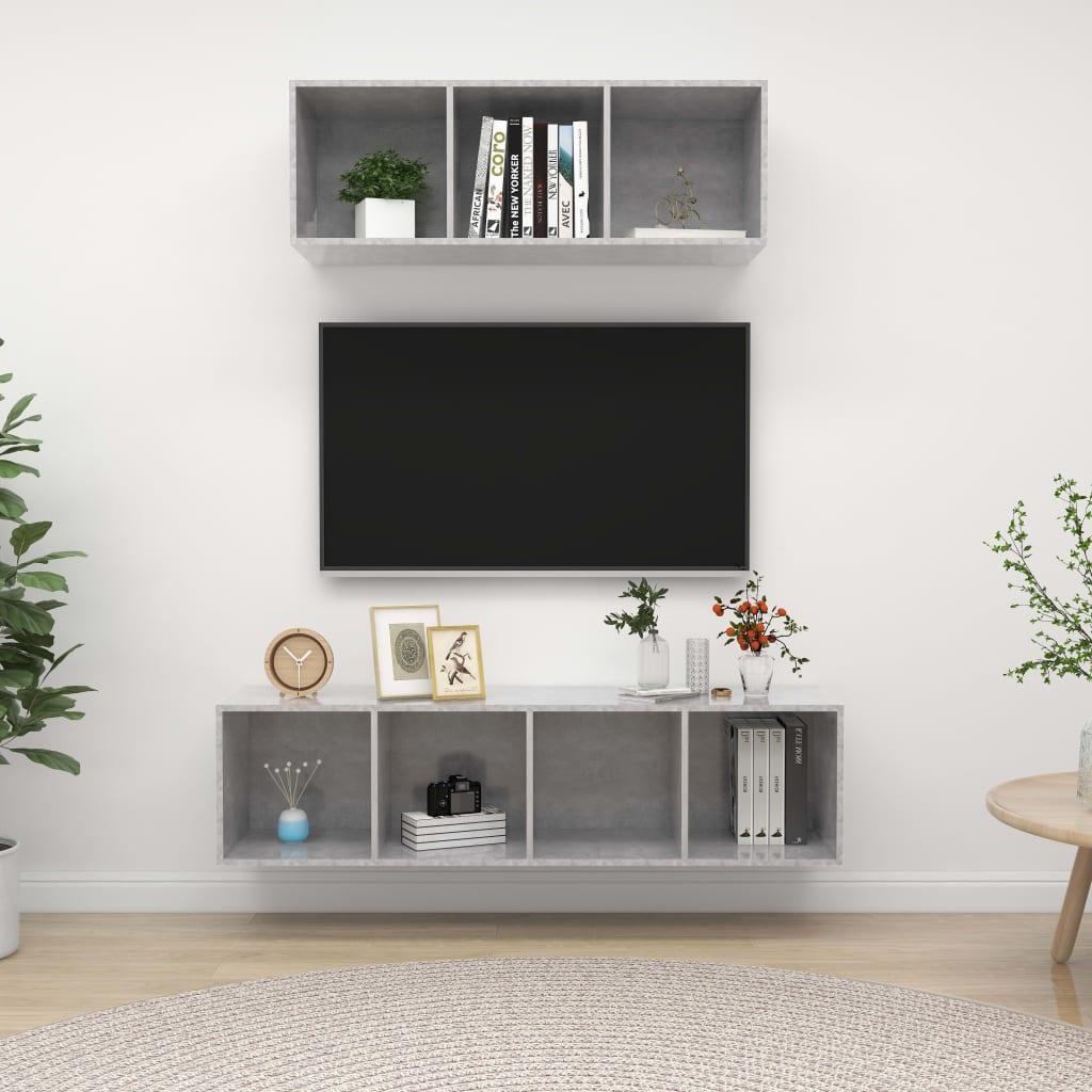 2-delige Tv-meubelset spaanplaat betongrijs