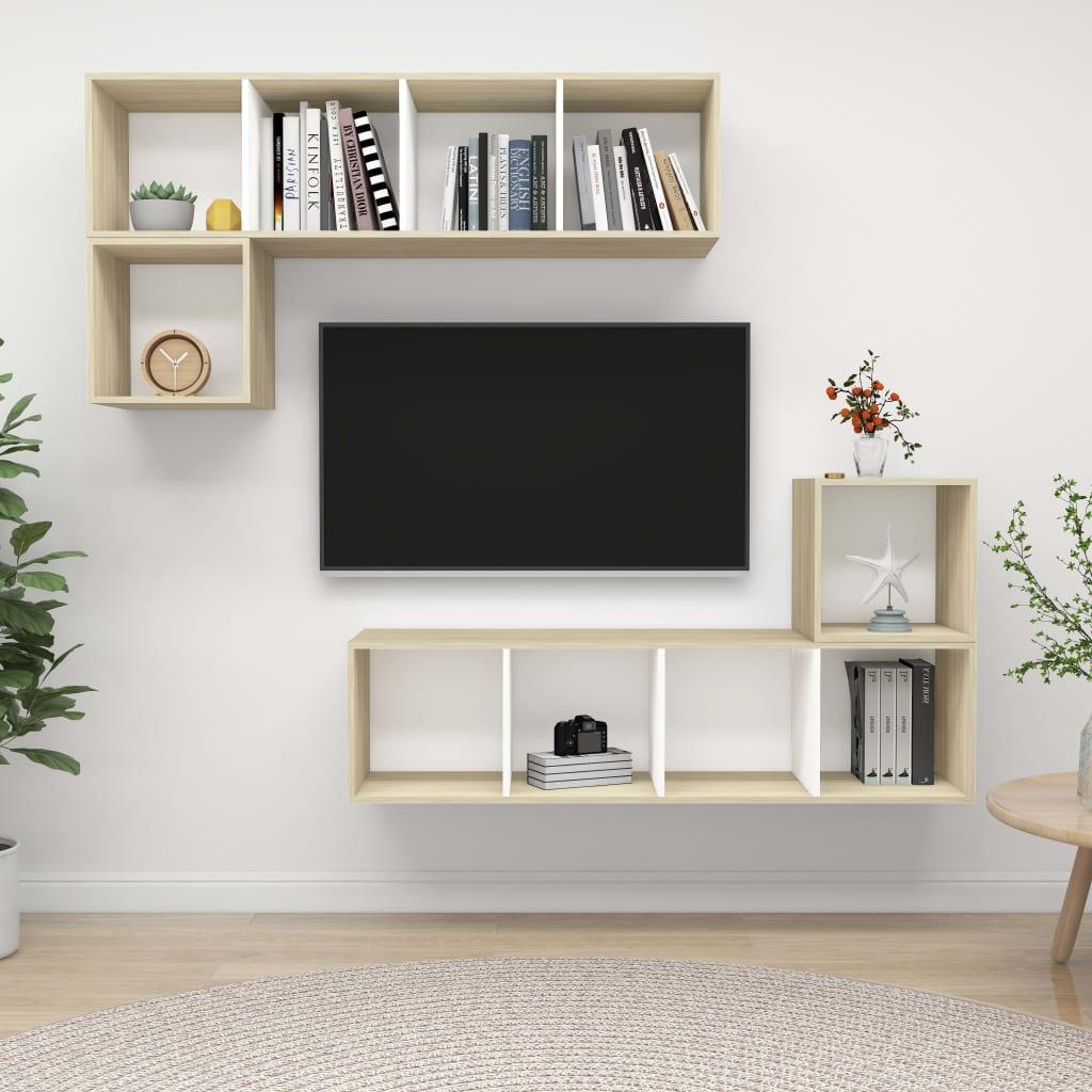 vidaXL 4-delige Tv-meubelset spaanplaat wit en sonoma eikenkleurig