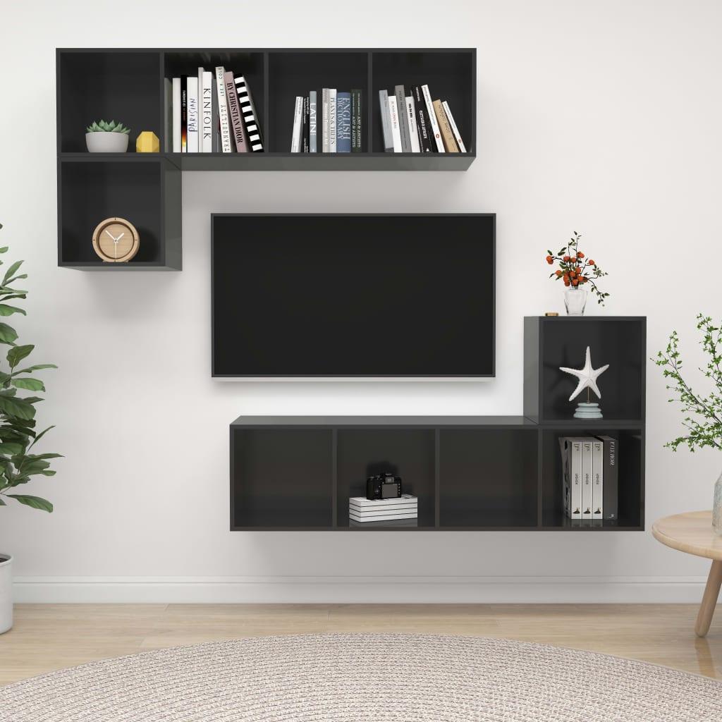 4-delige Tv-meubelset spaanplaat hoogglans grijs