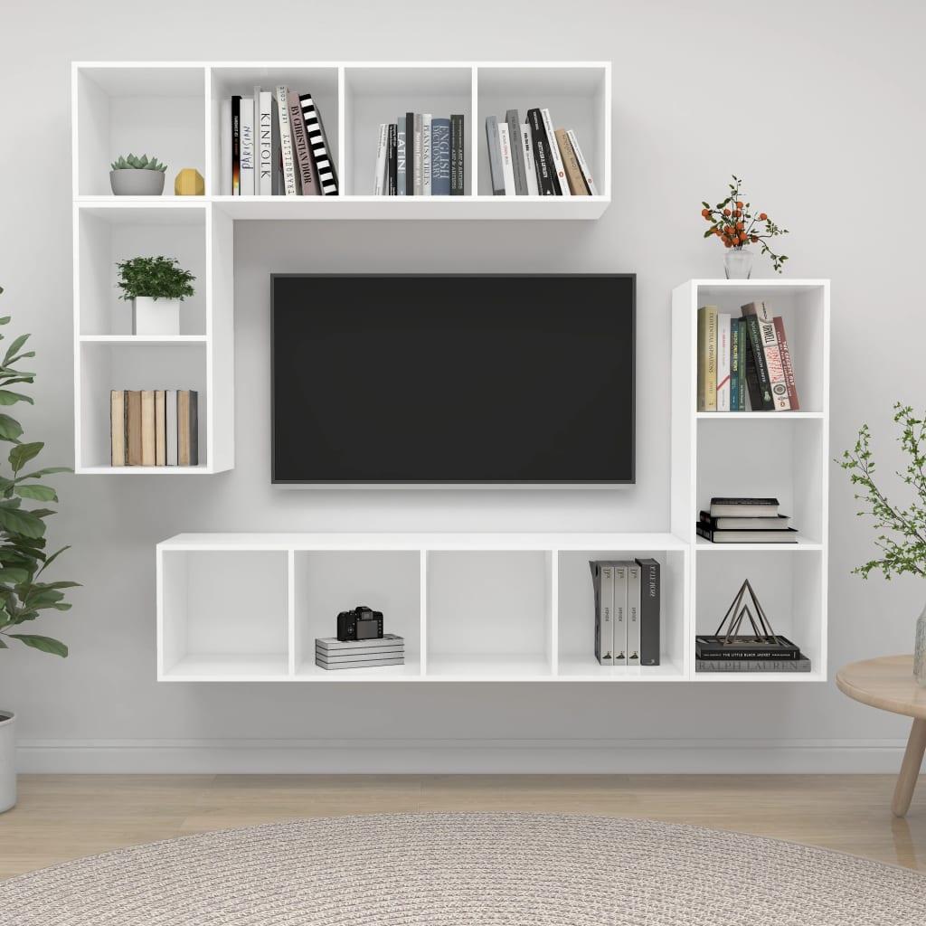 vidaXL 4-delige Tv-meubelset spaanplaat wit