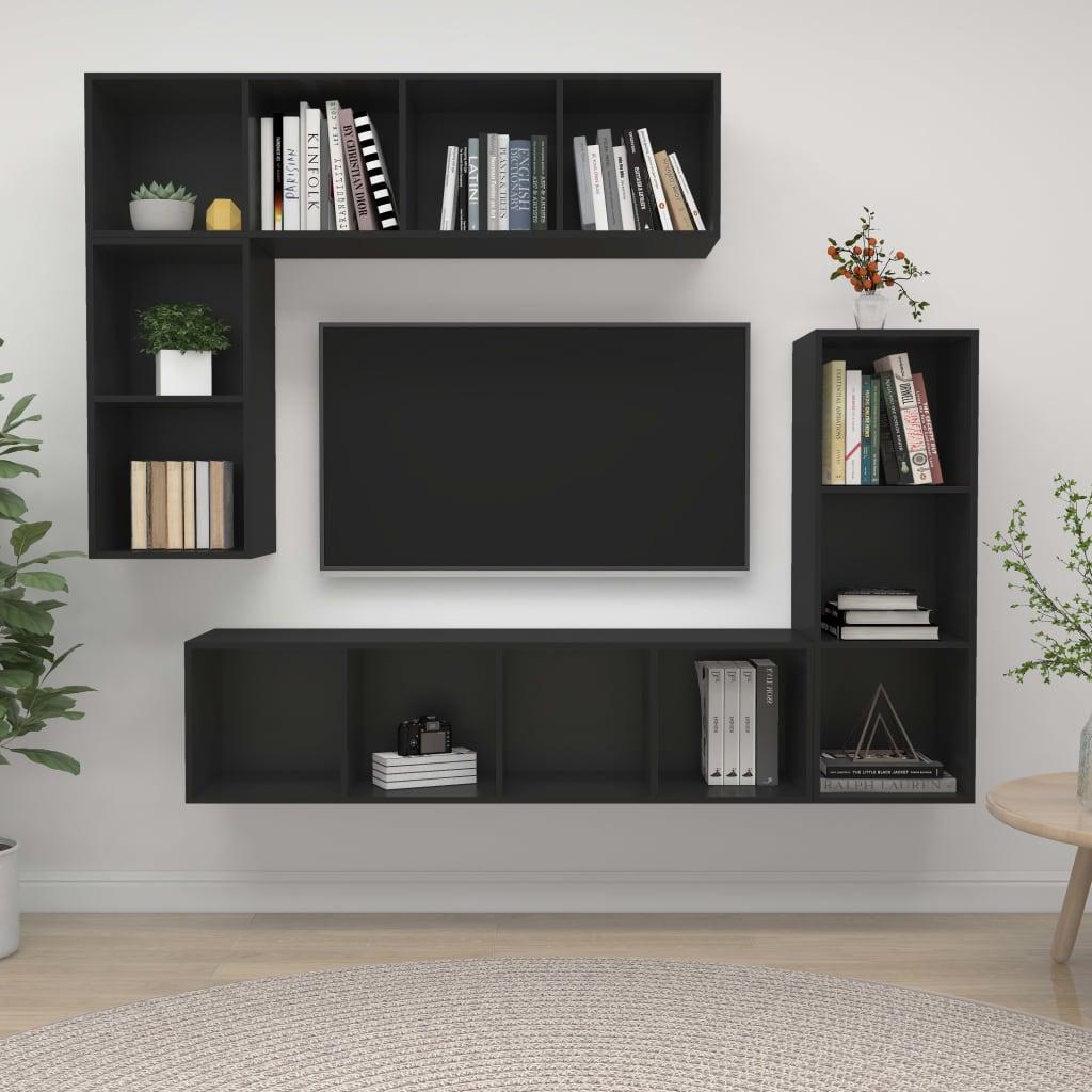 4-delige Tv-meubelset spaanplaat zwart