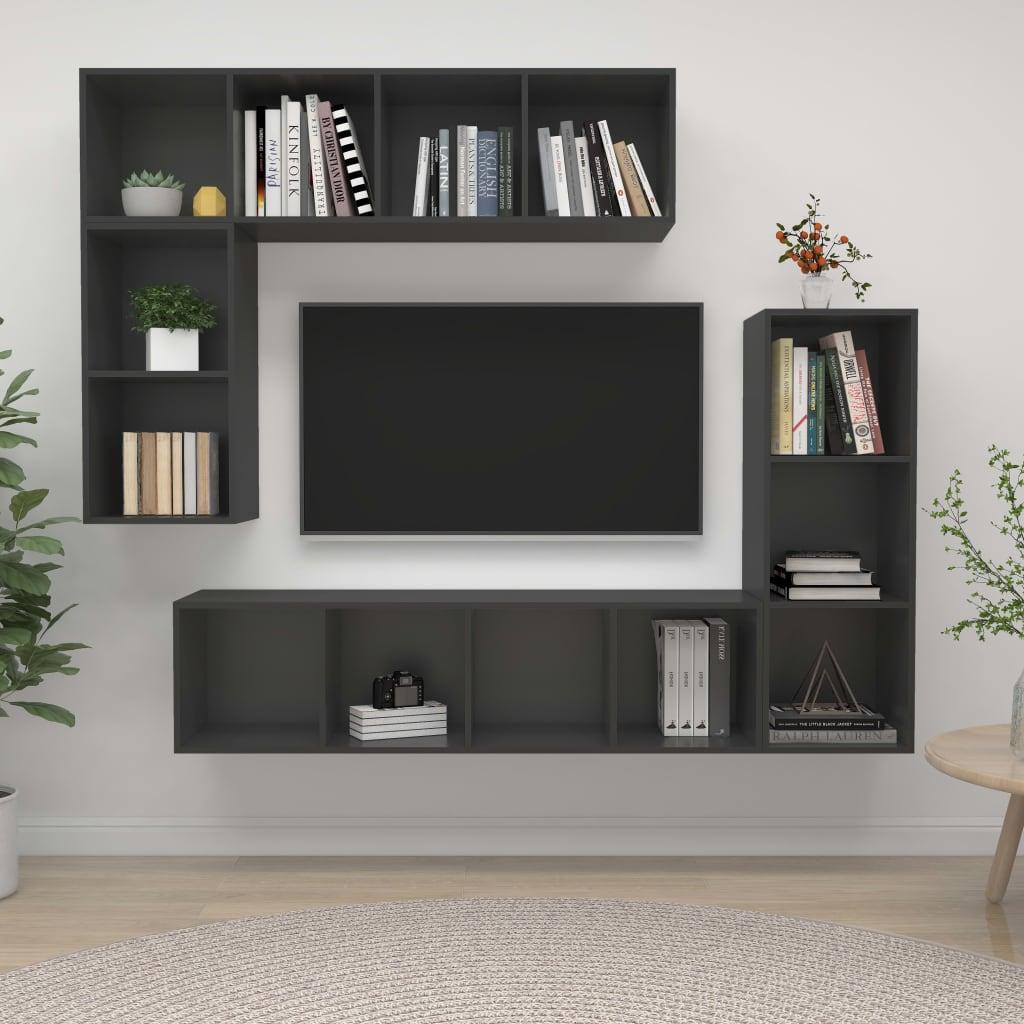 4-delige Tv-meubelset spaanplaat grijs