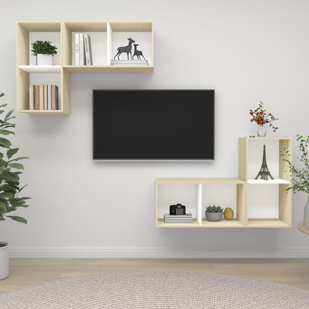vidaXL TV-Wandschränke 4 Stk. Weiß Sonoma-Eiche Spanplatte