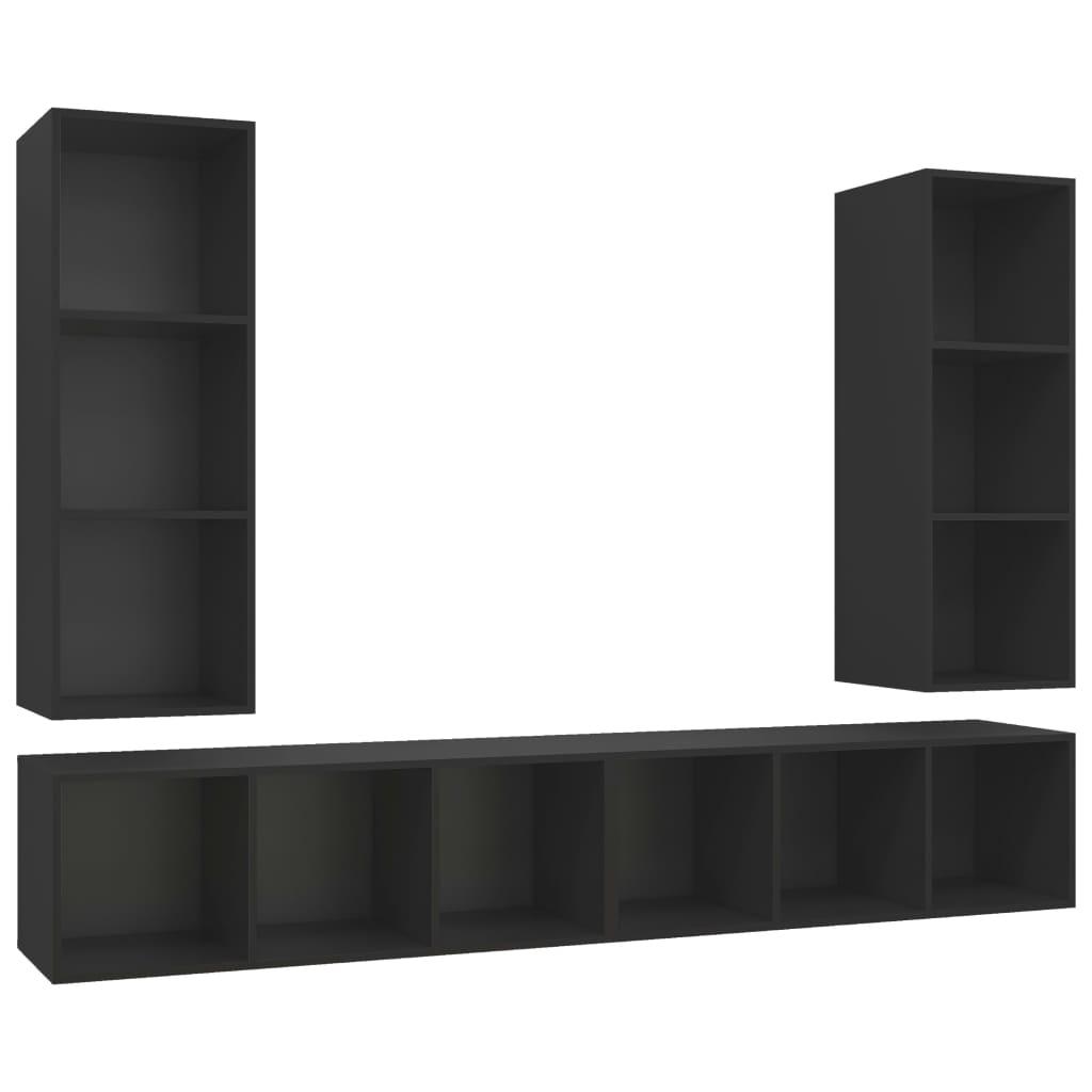 Tv-wandmeubelen 4 st spaanplaat zwart