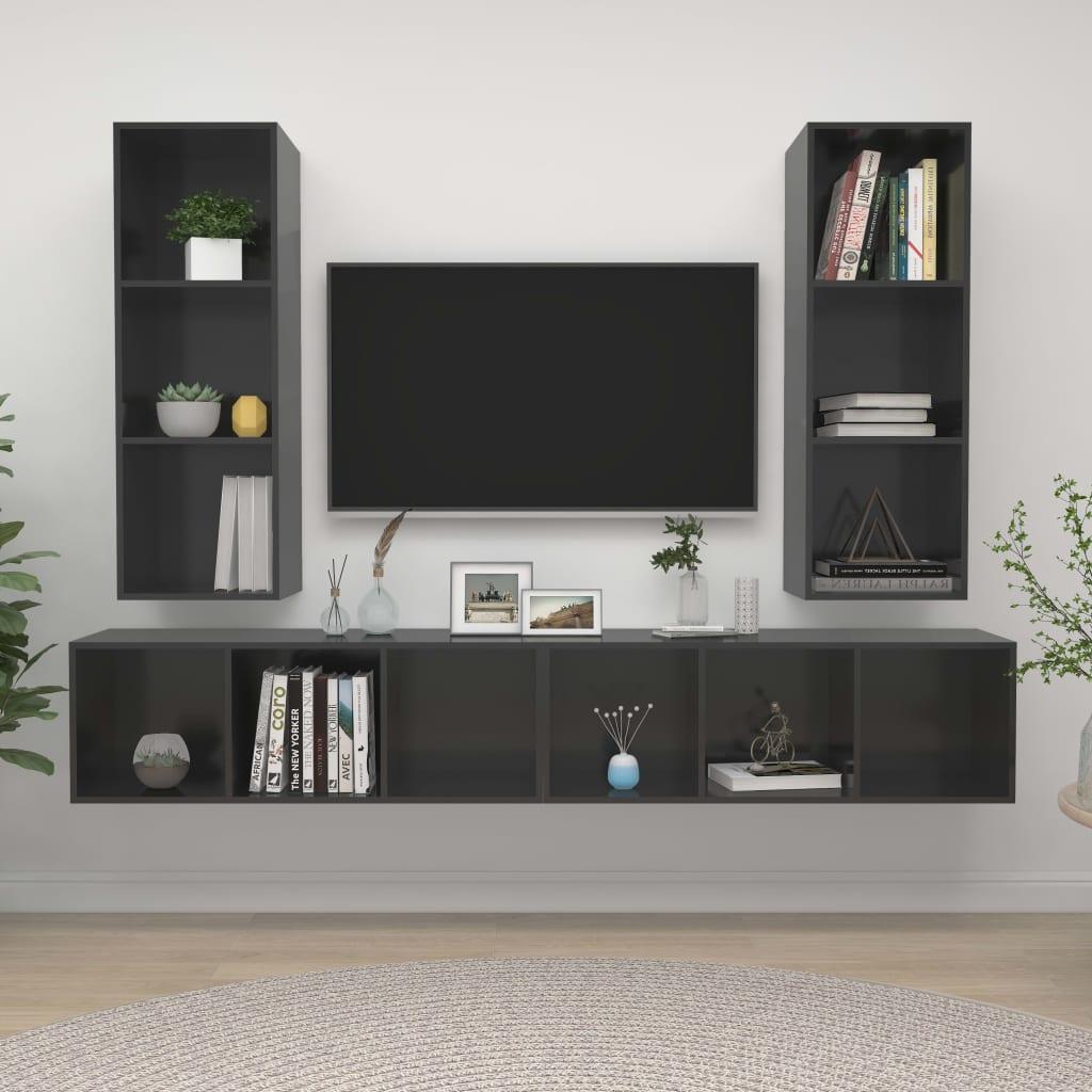 vidaXL TV-Wandschränke 4 Stk. Hochglanz-Grau Spanplatte