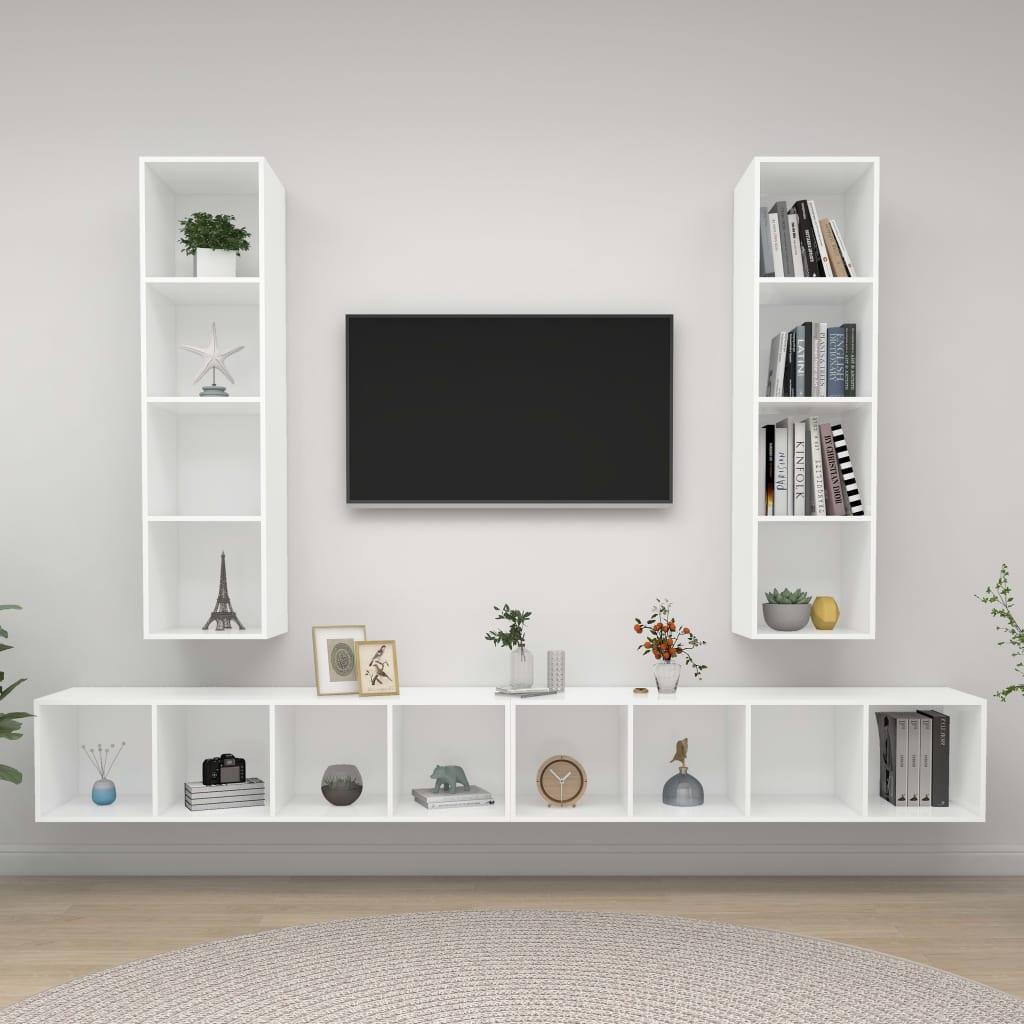 vidaXL Tv-wandmeubelen 4 st spaanplaat wit