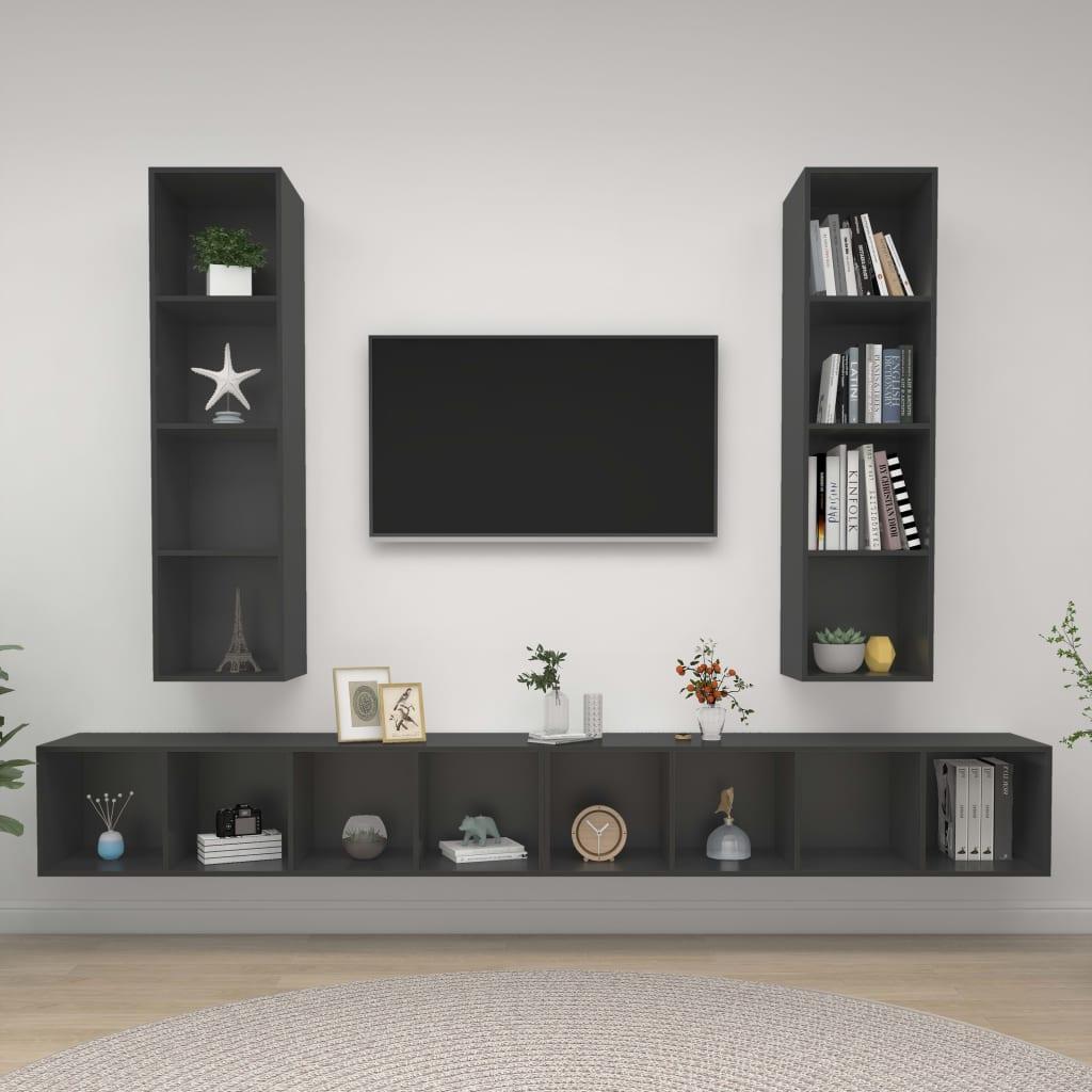 Tv-wandmeubelen 4 st spaanplaat grijs
