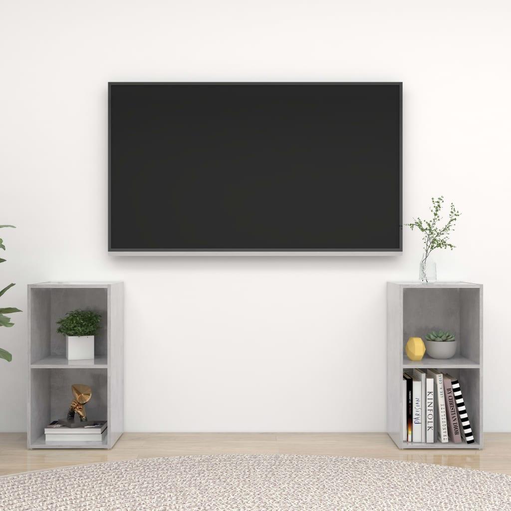 vidaXL TV-Schränke 2 Stk. Betongrau 72x35x36,5 cm Spanplatte