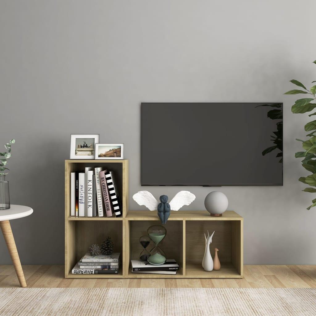 vidaXL TV-Schränke 2 Stk. Sonoma-Eiche 72x35x36,5 cm Spanplatte