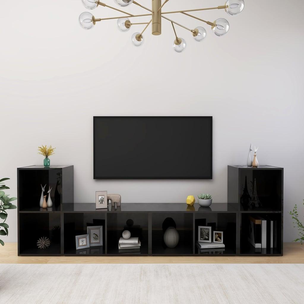 vidaXL TV-Schränke 4 Stk. Hochglanz-Schwarz 72x35x36,5 cm Spanplatte