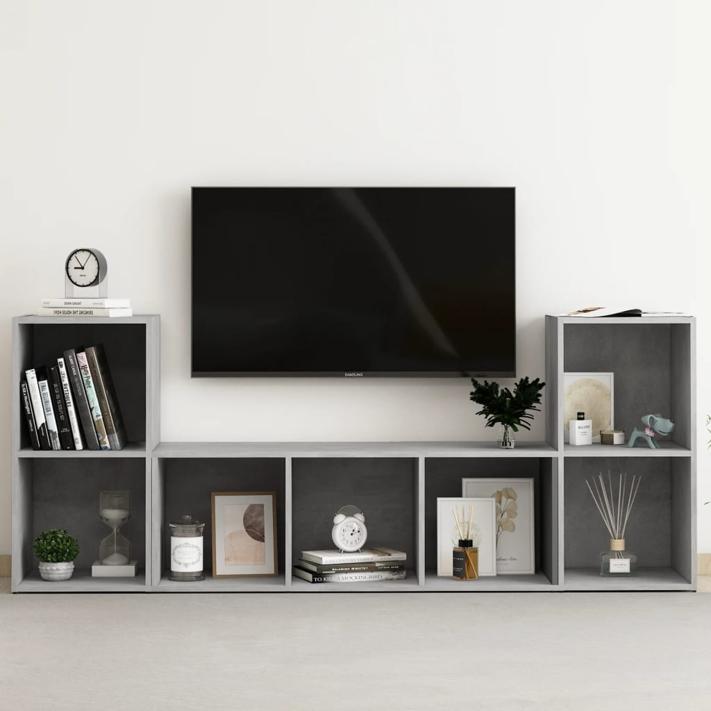 vidaXL 3-tlg. TV-Schrank-Set Betongrau Spanplatte