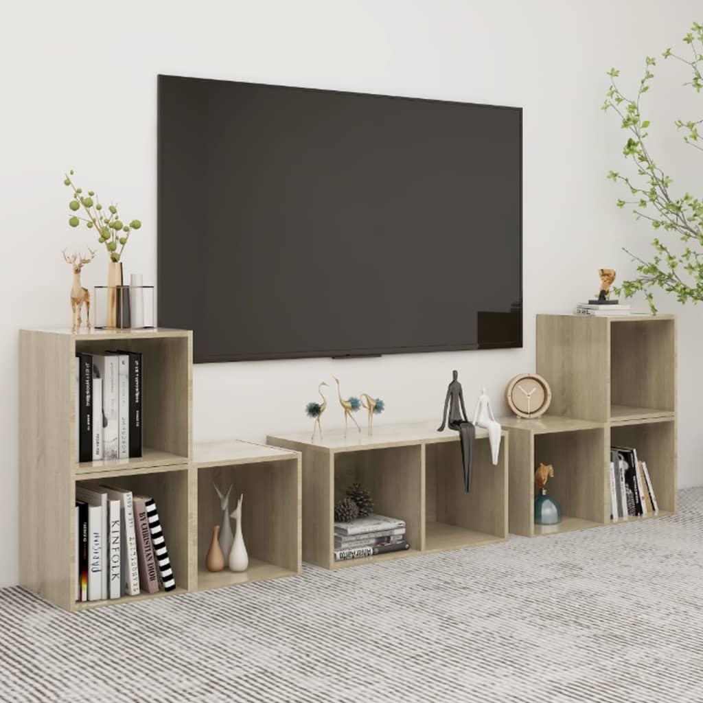 vidaXL 6-tlg. TV-Schrank-Set Sonoma-Eiche Spanplatte