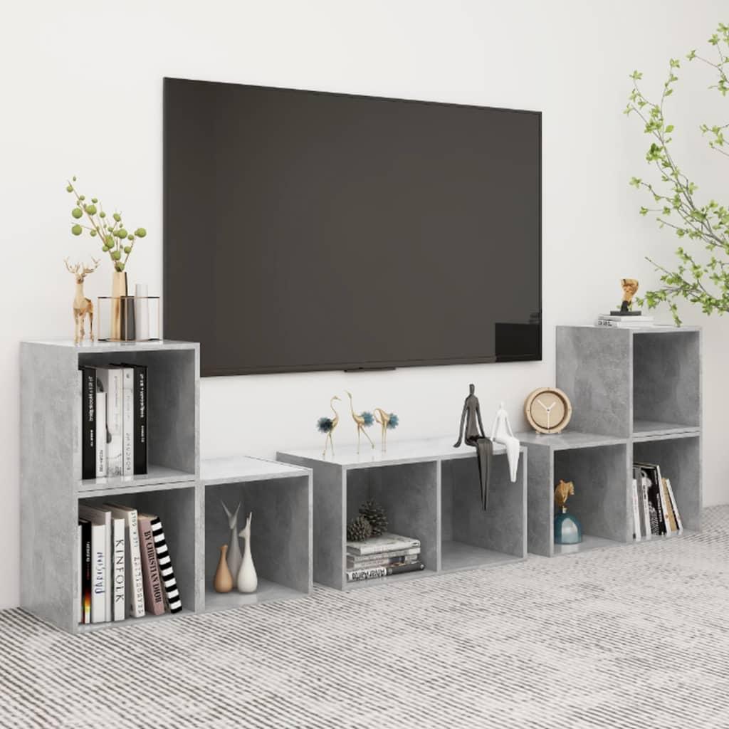 vidaXL 6-tlg. TV-Schrank-Set Betongrau Spanplatte