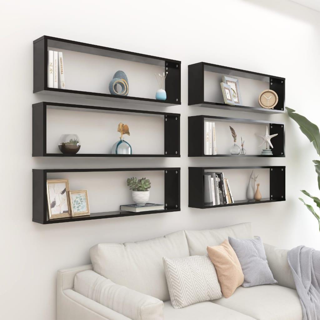 vidaXL væghylder 6 stk. 100x15x30 cm spånplade kubeformet sort