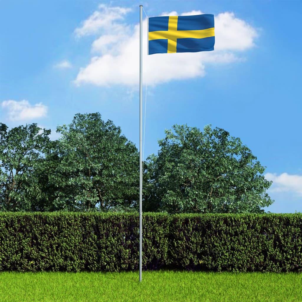 Rootsi lipp ja lipumast, alu..