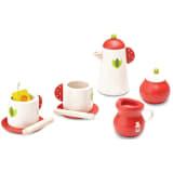 Wonderworld Teepause-Set Holz Rot und Weiß HOUT192436