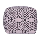 bhp Pouffe Cube-Shaped Black and White Fabric B413064