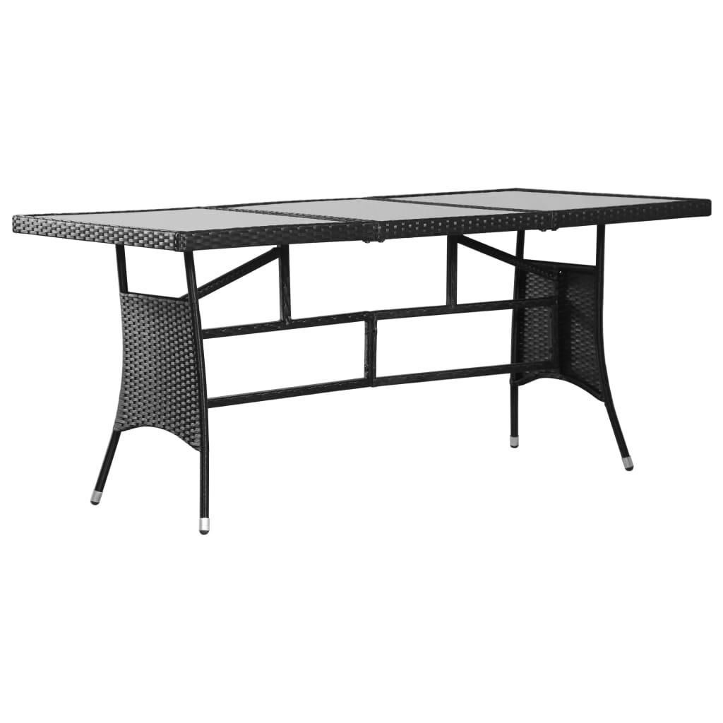 Détails sur vidaXL Table de Jardin Noir Résine Tressée Extérieur Patio  Balcon Multi-taille