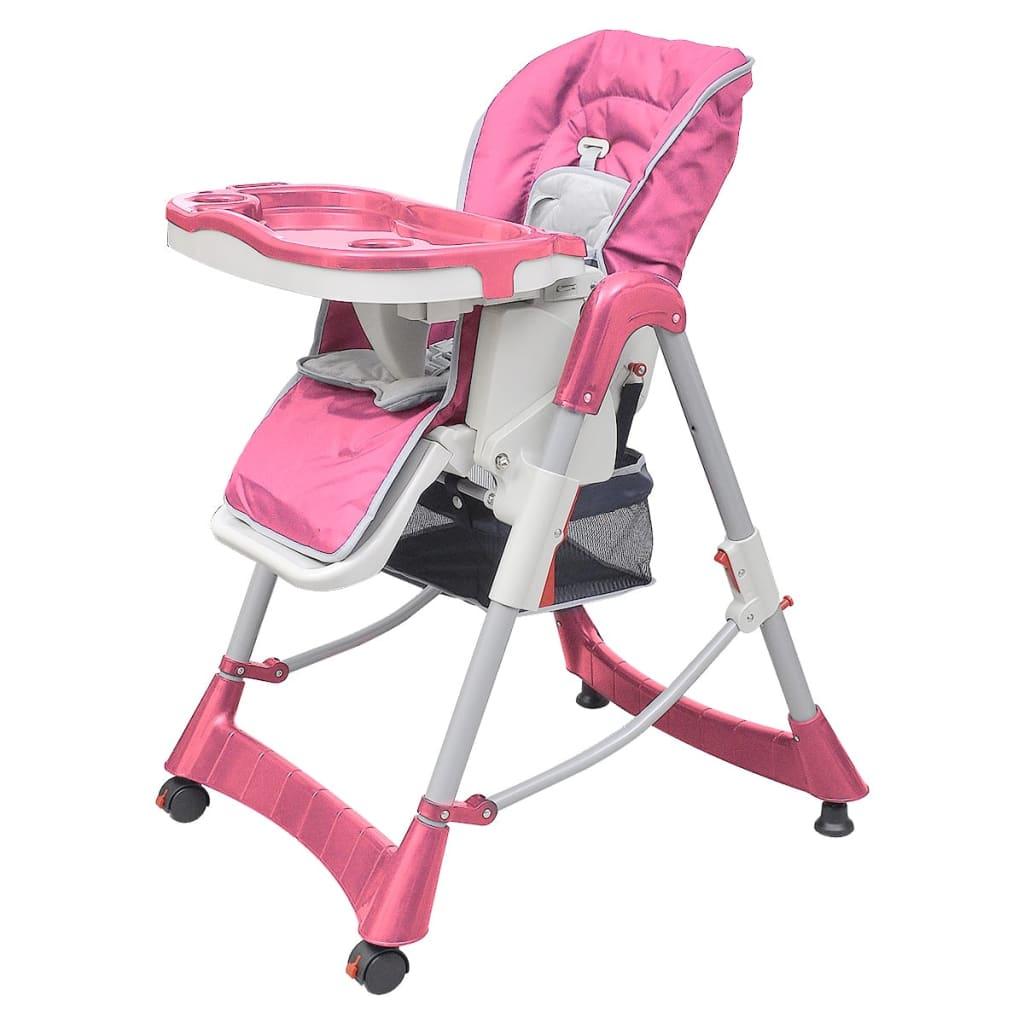 vidaXL Chaise haute Deluxe et Réhausseur bébé couleur Rose
