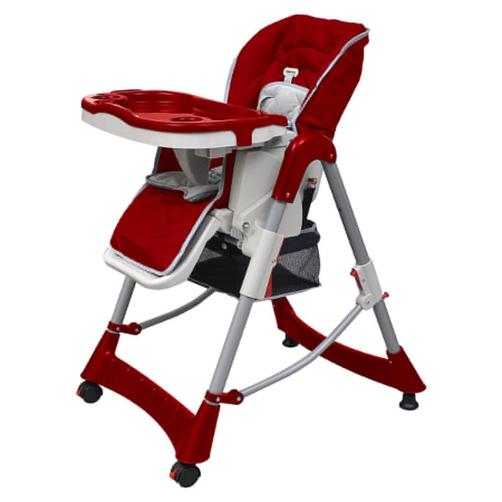 vidaXL Chaise haute Deluxe et Réhausseur bébé couleur Rouge bordeaux