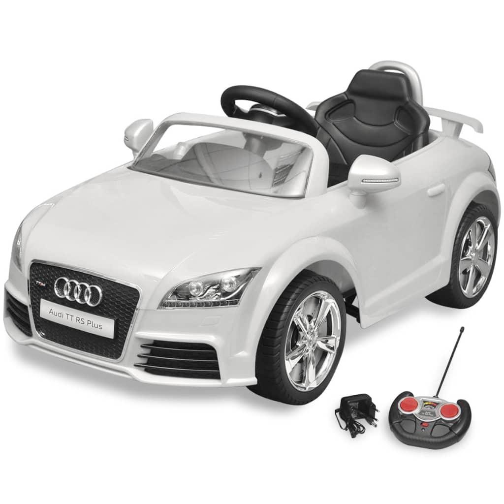 la boutique en ligne voiture lectrique pour enfant audi tt rs blanche avec t l commande. Black Bedroom Furniture Sets. Home Design Ideas