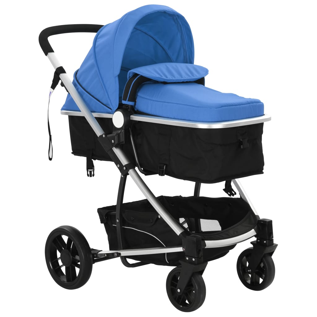 vidaxl kinderwagen 2 in 1 blauw en zwart aluminium. Black Bedroom Furniture Sets. Home Design Ideas