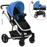 vidaXL 2-in-1 Baby Stroller/Pram Aluminium Blue and Black