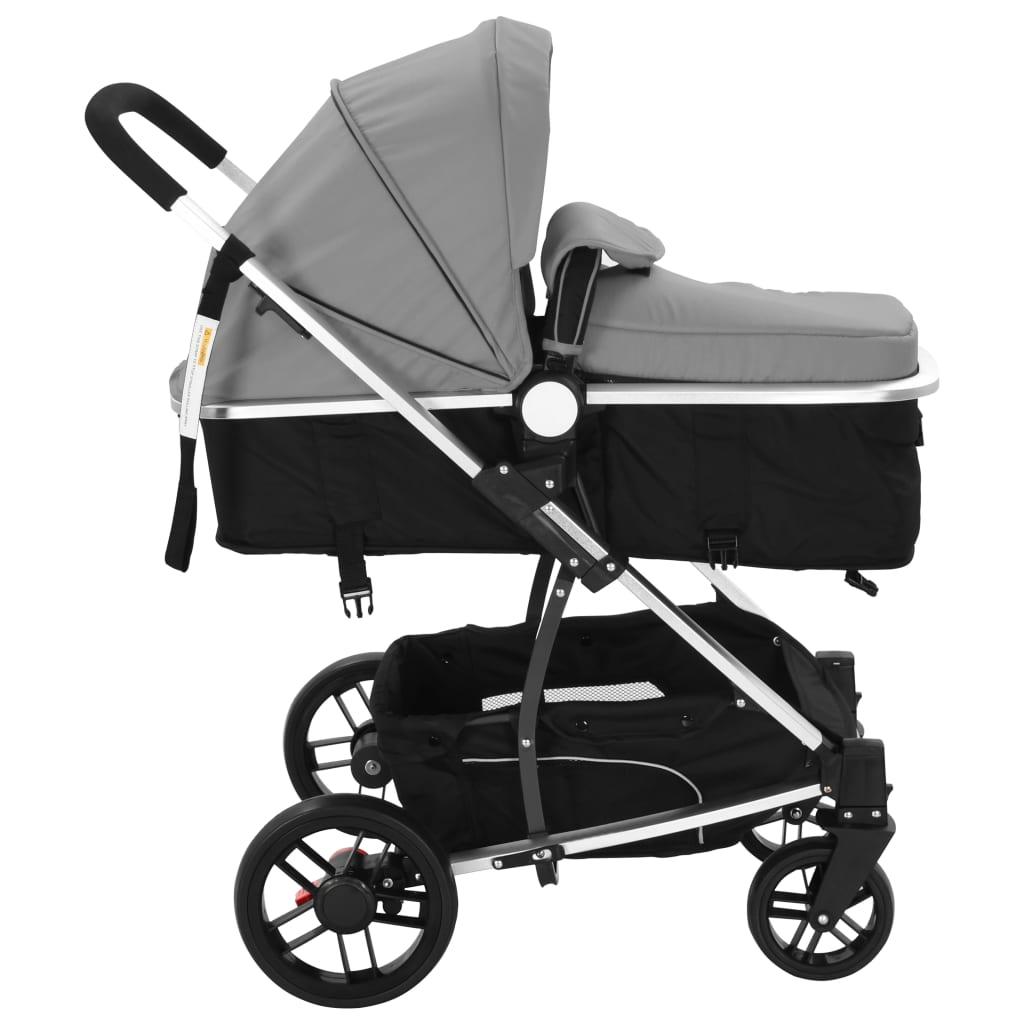 vidaxl 2 in 1 buggy kinderwagen aluminium grau und schwarz g nstig kaufen. Black Bedroom Furniture Sets. Home Design Ideas