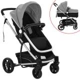 vidaXL 2-in-1 Baby Stroller/Pram Aluminium Grey and Black
