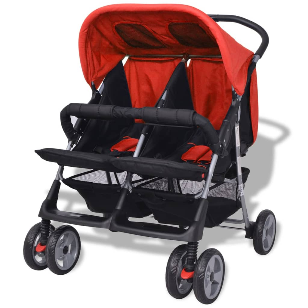 Vidaxl tweelingwagen staal rood en zwart - Eetkamer rood en zwart ...