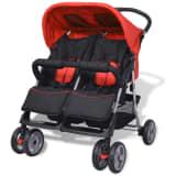 vidaXL Baby Twin Stroller Steel Red and Black