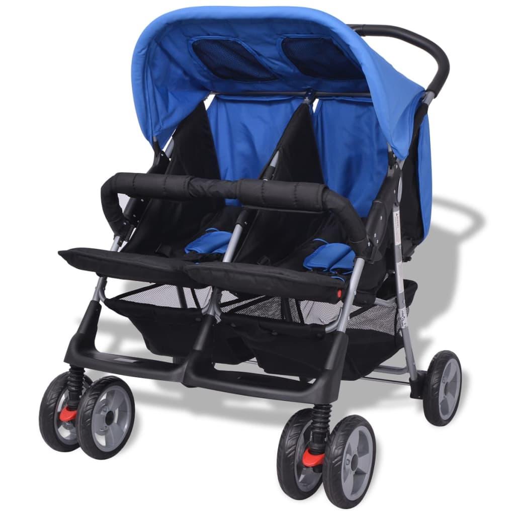 vidaxl baby zwillingswagen stahl blau und schwarz g nstig kaufen. Black Bedroom Furniture Sets. Home Design Ideas