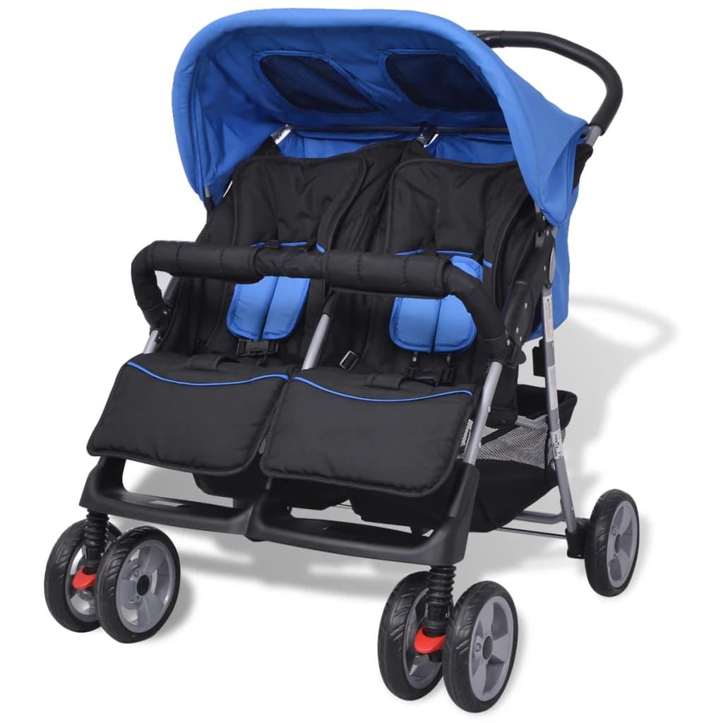 vidaXL acél ikerbabakocsi kék és fekete