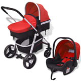 vidaXL 3-in-1 Pushchair Aluminium Red and Black