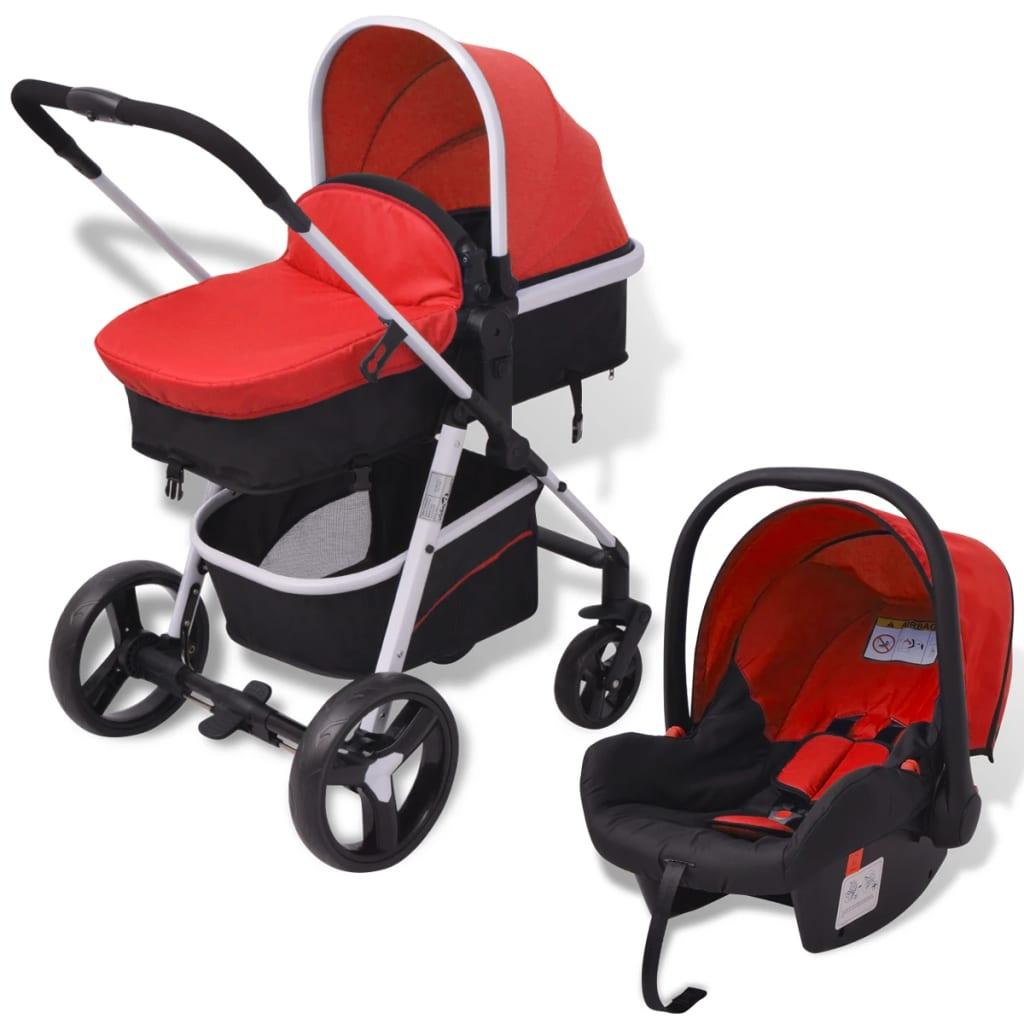 vidaxl kinderwagen 3 in 1 rood en zwart aluminium online kopen. Black Bedroom Furniture Sets. Home Design Ideas