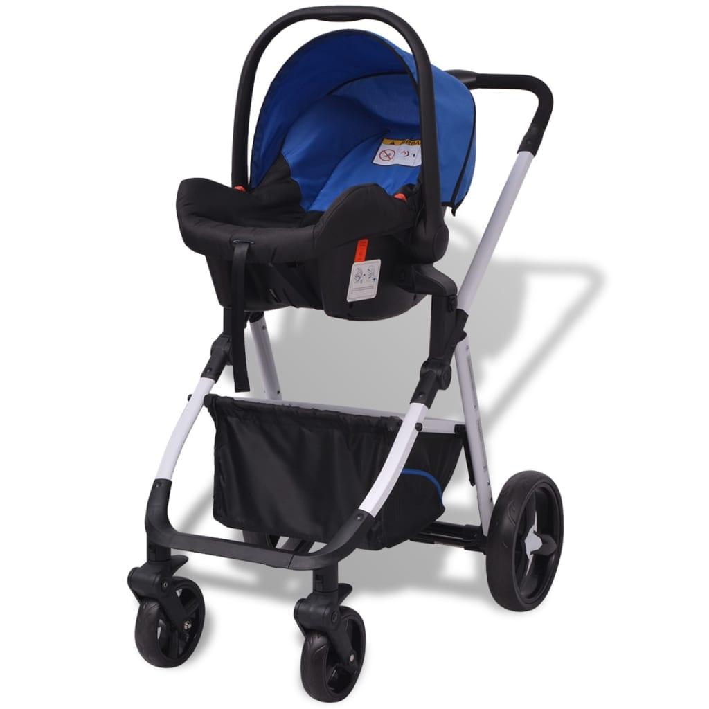 vidaxl 3 in 1 kinderwagen aluminium blau und schwarz g nstig kaufen. Black Bedroom Furniture Sets. Home Design Ideas