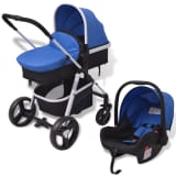 vidaXL 3-in-1 Pushchair Aluminium Blue and Black