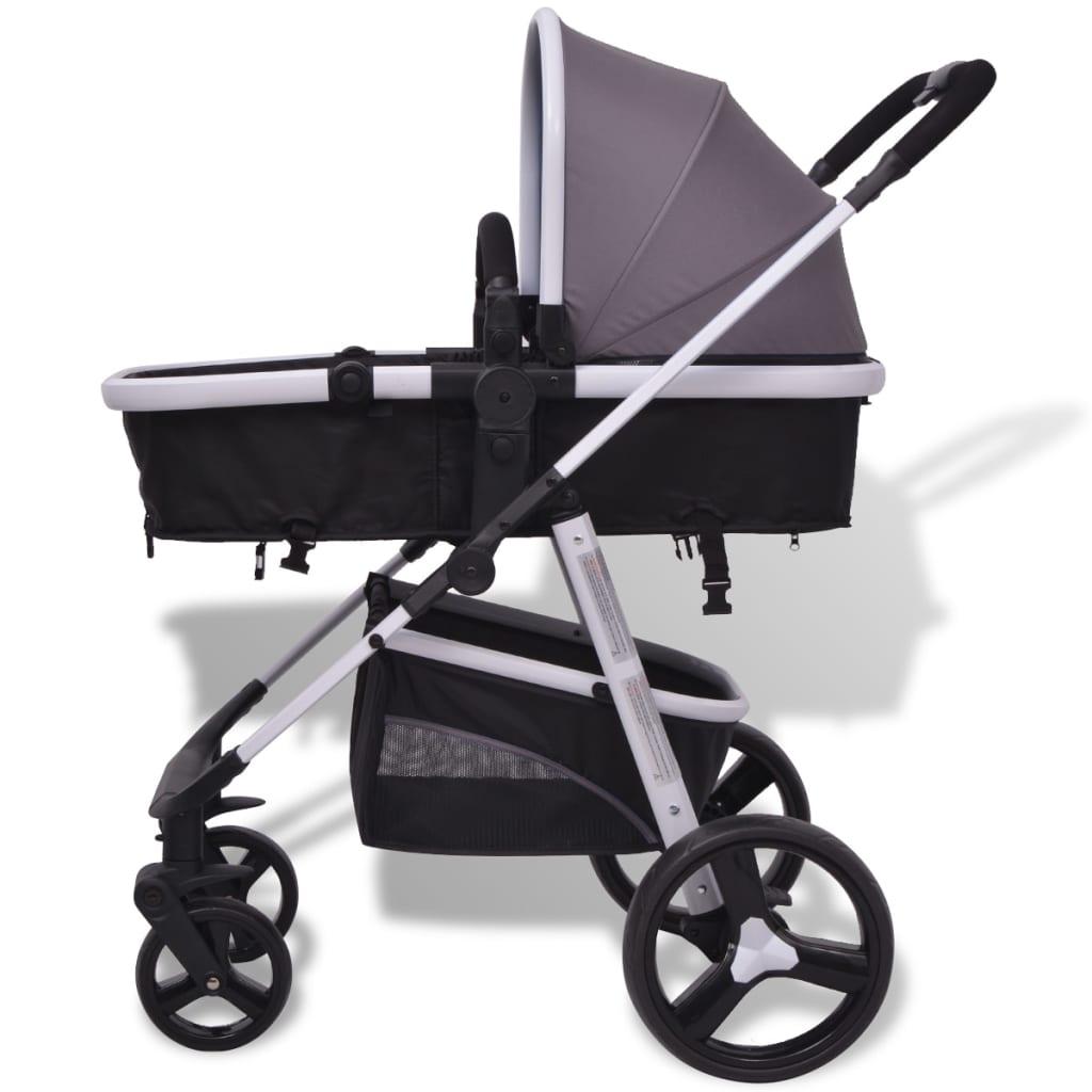 vidaxl kinderwagen 3 in 1 grijs en zwart aluminium online kopen. Black Bedroom Furniture Sets. Home Design Ideas